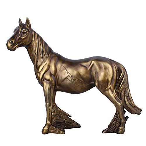 ZTIANEF Figuren Skulpturen Statuen Dekoartikel Skulptur Bronze Pferdeskulptur Tierstatue Modell Harz Figuren Ornament Home Decoration Wohnzimmer Geschenk