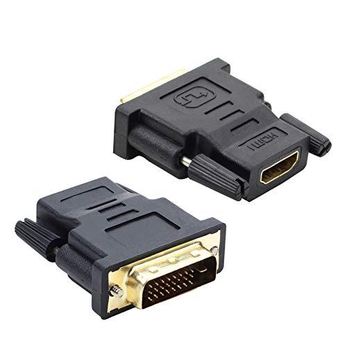 JeoPoom Adaptateur DVI vers HDMI[2 Pièces], Adaptateur HDMI-DVI, HDMI Femelle vers Connecteur DVI-D Mâle (24+1), 1080P Full HD, Compatible avec Tous Les Appareils avec Sortie DVI