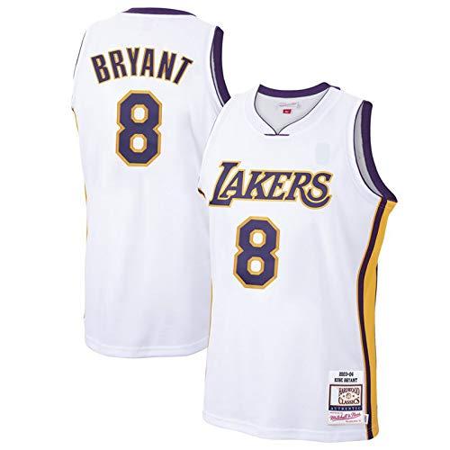 DENGPAO Camiseta de baloncesto blanca Bryant Ropa Los Hombres Angeles Top Sin Mangas Lakers #8 Hardwood Classics Jersey Icon Edition-S