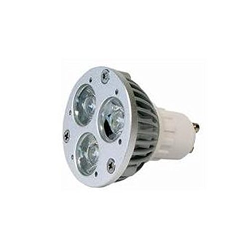Power LED Lampe, Aluminiumgehäuse mit 3 Linsen, 230V, 3x 1W, GU10 Sockel, 40°, warm weiß