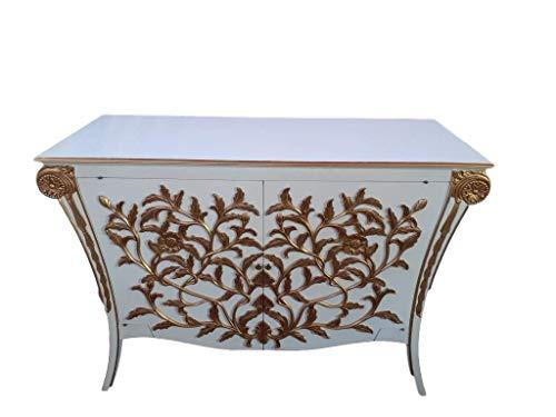 Antik Louises Barock Rokoko Stilmöbel Kommode Sideboard Kommodenschrank Sideboardschrank Farbe: weiß mit Gold