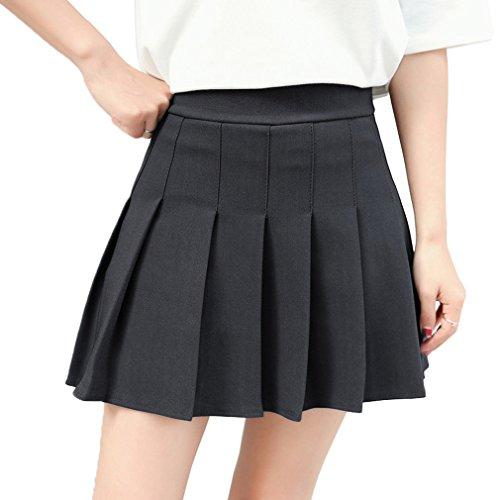 Hoerev Frauen Mädchen Kurze hohe Taille gefaltete Skater Tennis Schule Rock,Schwarz,40 / XL