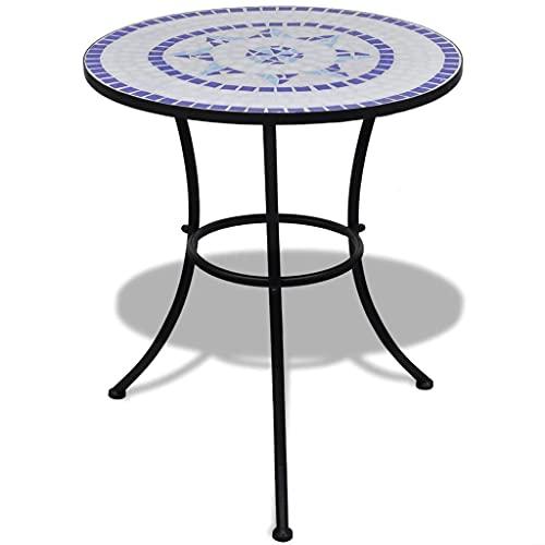 vidaXL Tavolo Piante in Ceramica con Mosaico 60cm Blu/Bianco Arredamento Esterno