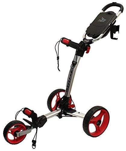 Axglo TriLite 3-Wheel Push Golf Trolley Silver/Red + 2 Free Accessories by Axglo
