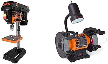 WEN 4208 8 in. 5-Speed Drill Press & 4276 2.1-Amp 6-Inch Bench Grinder with Flexible Work Light