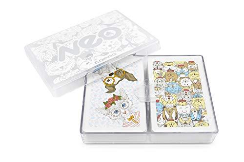 Copag Neo Pets 100% Plastic Playing Cards, Bridge Size Jumbo Index Double Deck Set