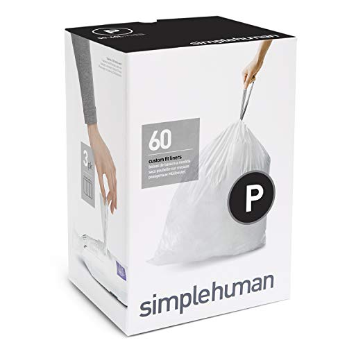 simplehuman, 3 x paquete de 20 bolsas de basura a medida (60 bolsas), código P, plástico blanco