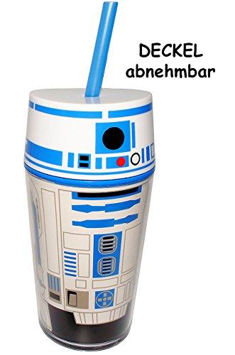 alles-meine.de GmbH Trinkbecher / Trinkflasche - mit Strohhalm & Deckel -  Star Wars - Stormtrooper  - 400 ml - Becher / Sommerglas - Trinklernbecher - Plastikbecher - z.B. LIM..