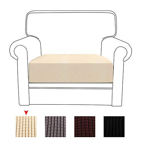 78Henstridge Funda para cojín de sofá de Licra de poliéster elástico Funda de Asiento Protector, Beige, 1 Seat