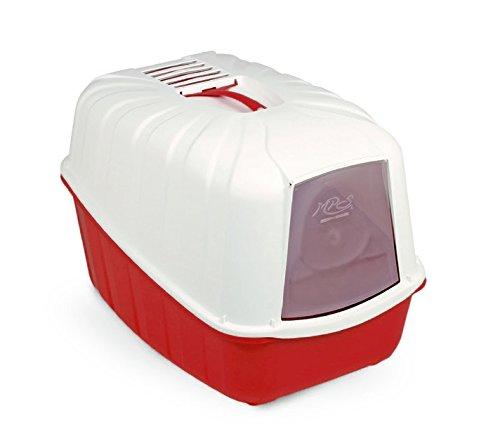 Toilette accessoriata MPS Komoda - Lettiera coperta, completa di porta basculante, paletta e filtro al carbone (Rosso)
