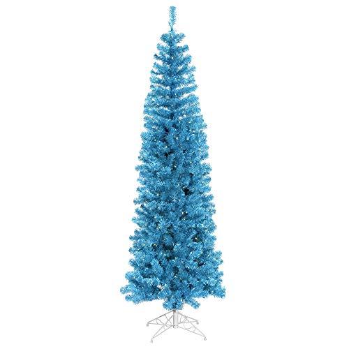 Vickerman 6.5' Sky Blue Pencil Artificial Christmas Tree, Blue Dura-lit Incandescent Lights - Faux Pencil Christmas Tree - Seasonal Indoor Home Decor