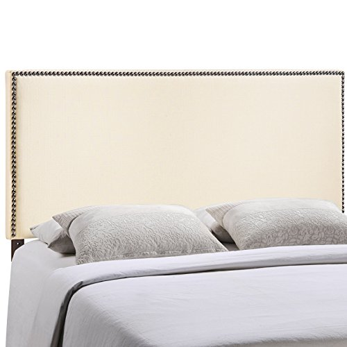 Modway Region Upholstered Linen Headboard Full Size With Nailhead Trim In Ivory