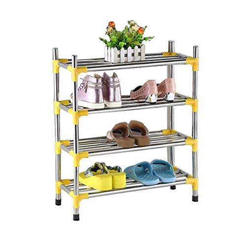 HYY-YY Zapatero de 4 niveles de acero inoxidable, estante de almacenamiento para pasillo de cocina, multiusos, ahorro de espacio