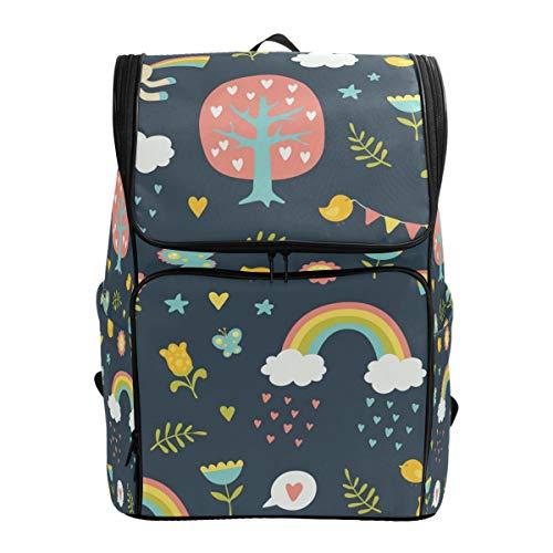 Emoya Schulranzen für Mädchen, niedliche Einhörner, Regenbogen, Bäume, Vögel, Blumen, Schmetterlinge, Wolken, Teenager-Schul-Rucksack, süße Büchertasche