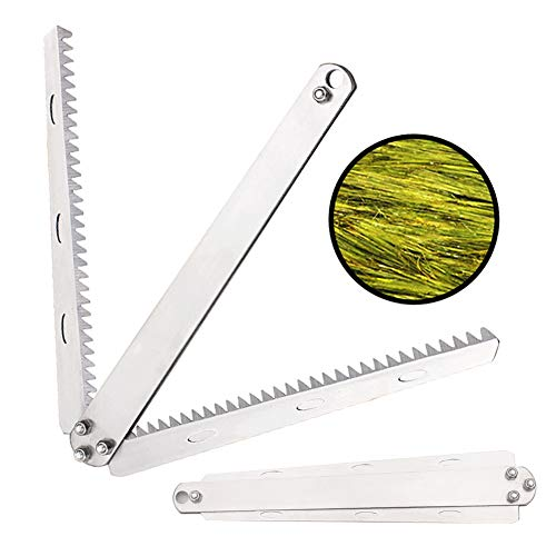 HathaWQ Folding Weed Razor Aquatic Plants Cutter Removing Water Plants Serrated Blade Stainless Steel Fishing Grass Cutter