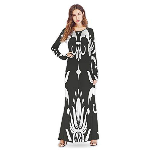 C COABALLA Chiffon Seamless Pattern Element.Classical Luxury Old Fashioned Ornament,Girl's Long Sleeve Round Neck Flowy Long Dresse