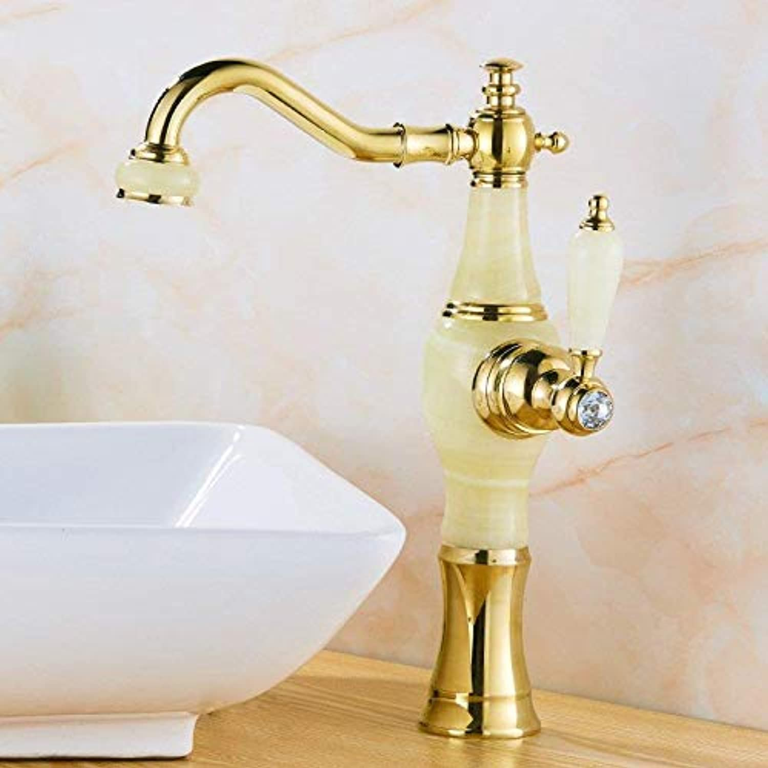 Taps Faucet Hot and Cold Faucet Bathroom Above Counter Basin Copper Hot and Cold Basin Faucet Bathroom Household Washbasin Faucet golden White Jade?High?3?1?cm