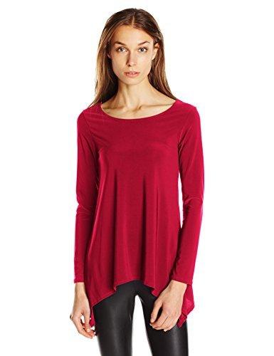 Star Vixen Womens Scoop Neck Long Sleeve Handkerchief Hem Comfy Knit Tunic Top