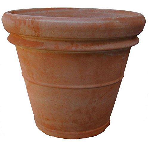 Siena Vaso Doppio Orlo Italiaans terracotta bloempot plantenbak plantenpot terracotta vorstbestendig kwaliteitsproduct 57 cm | 4er Set terracotta