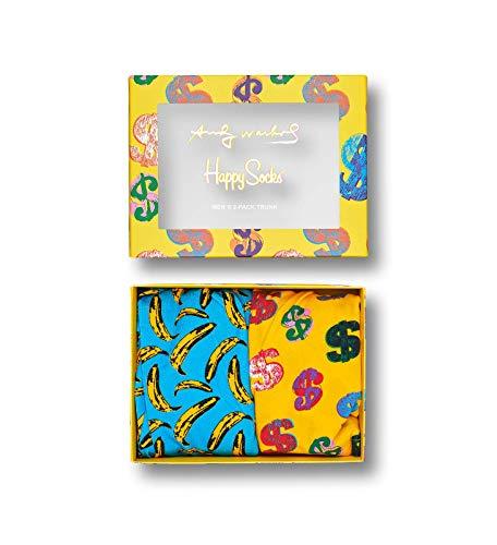 Happy Socks - Calcetines cortos para hombre, diseño de lunares Multicolor 2-pack Andy Warhol Trunk Box Set S