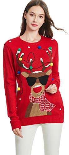 daisysboutique Women's Christmas Reindeer Themed Knitted Holiday Sweater Girl Pullover Ugly Xmas Round Neck Sweaters (Medium, Lighting-smartdeer)