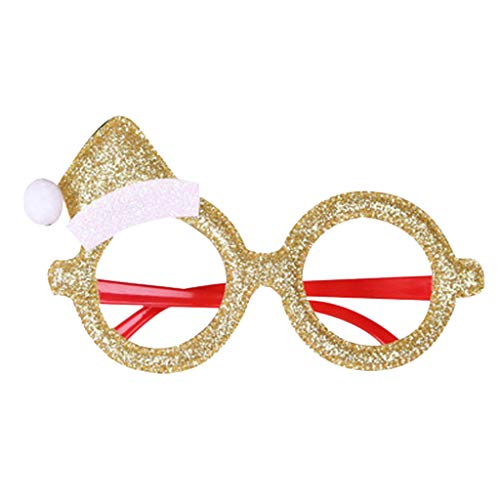 WooCo 8 Pieces Christmas Novelty Glitter Party Glasses Christmas Decoration Costume Party Favor Eyeglasses for Kids Boys Girls, Assorted Styles with Christmas Bow, Christmas Tree, Reindeer Etc
