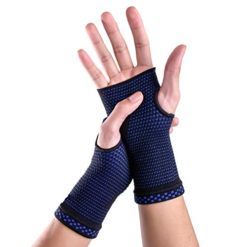 New Technology Breathable and Sweat-Absorbing Fabric Compression Wrist Brace Sleeves (Pair),Carpal Tunnel and Wrist Pain Relief Treatment,Wrist Support for Women and Men (Blue, Medium)