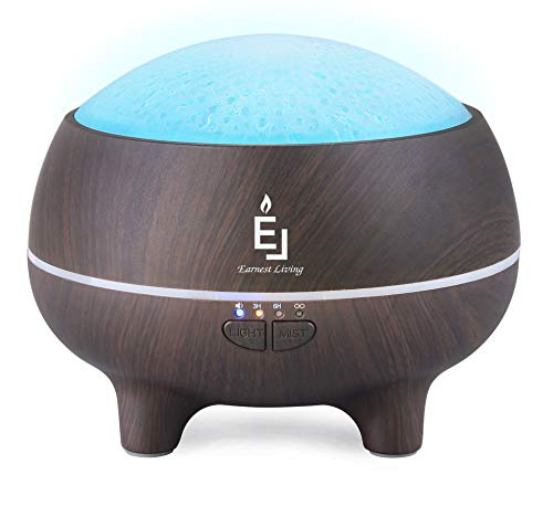 Earnest Living Essential Oil Diffuser with Bluetooth Speaker 300 ml Large Cool Mist Humidifier 7 Color Led Night Light for Home Aromatherapy 3-in-1 Multi-Purpose Light Scent Sound Machine