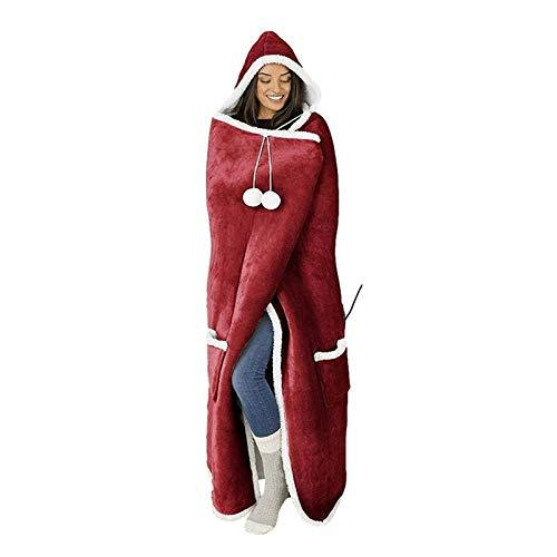 Manta con capucha, Unisex Super Soft Warmable Warm Cozy Cozy Cómodo Manta Premium Para Mujeres Adultos Menores Menores Niños, Niza Regalo con Sweamshirt Manta con capucha ( Color : Winered )