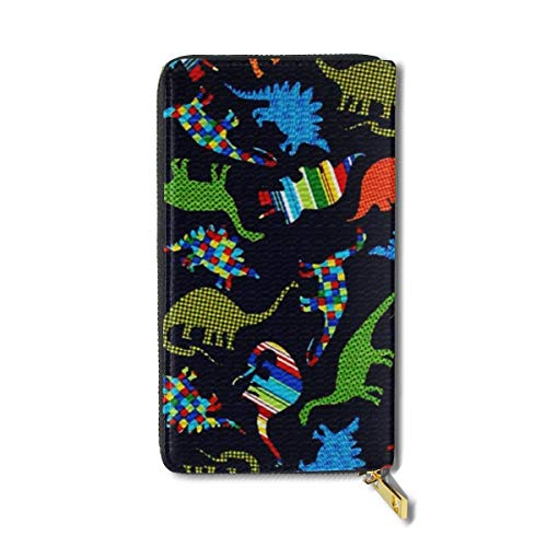 Cartoon Dinosaur Sketch Large Capacity Zip Around Slim Billfold PU Leather Wallet Card Holders for Men Women Boy Girl