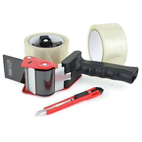 Rapesco TD9600A1 960 Dispensador de Cinta de Embalar para Trabajos de Empaquetado, Mango Ergonómico