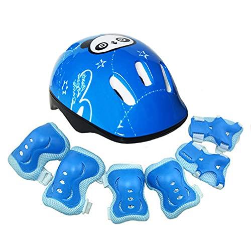 Tgus, casco sportivo per bambini, protezione da polso, modello panda per bambini, per ciclismo, sport all'aria aperta, colore: blu