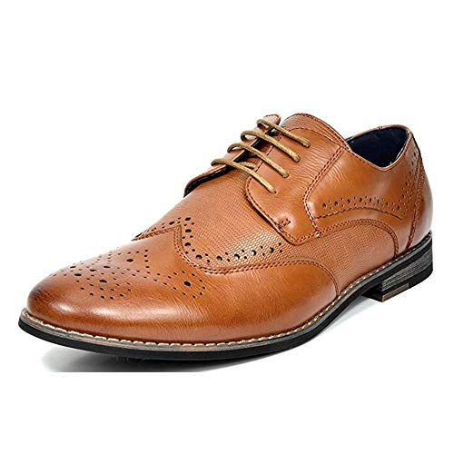 Bruno MARC FLORENCE Men's Oxford Modern Classic Brogue Lace Up Leather Lined Perforated Wing-tip Dress Oxfords Shoes Brown Size 10