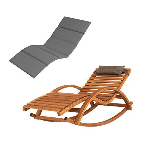 Ampel 24 Relax Schaukelstuhl Belo, Relaxliege mit Armlehnen, Kopfkissen und Auflage, Gartenliege komplett aus Holz, Stuhl mit Querlatten