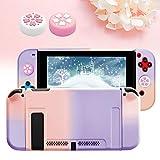 Coque pour Switch avec 2 Sakura Capuchons de Joystick, Ancrable Étui de Protection pour Switch avec...