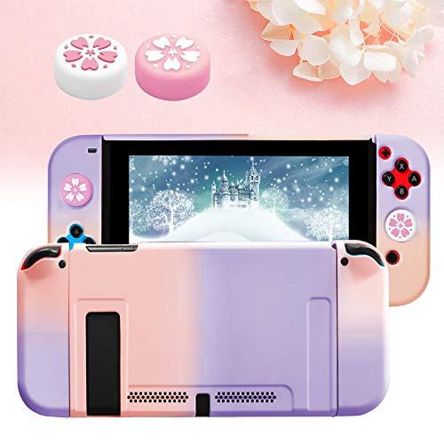Haobuy Carcasa Protectora para Switch con 2 Tapas Sakura para Joystick, Dockable Funda para NS Switch Consola y Silicona Joy-con Cover, Duradera Carcasa Separable Estuche para Switch-Rosa y Morado