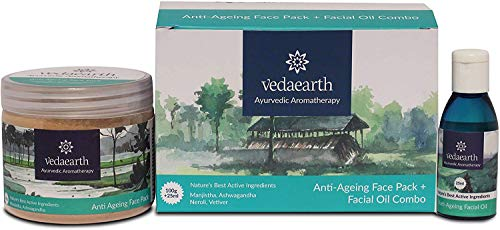 Glamorous Hub Vedaearth Anti Face Pack Combo (Mascarilla + Aceite Facial) 100gms + 25ml (El Embalaje Puede Variar)