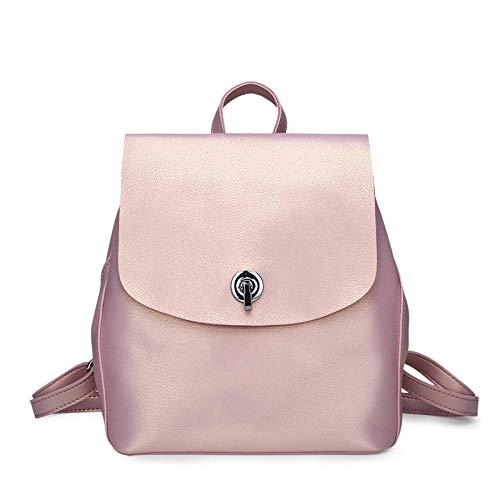 Multifunctional lady leather backpack bag female travel shoulder bag backpack female large-capacity leather handbag-pink_26*23 * 13cm