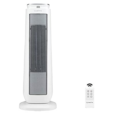 Climatik Oscillating White Tower Fan Heater - Ceramic PTC - Thermostat, 2 Power Settings, LED Display, Portable Design with Timer & Remote Control - 2000W