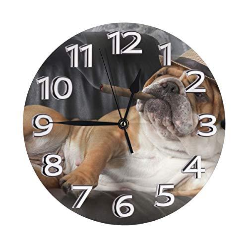 N/A English Bulldog Fumare Bevanda Vino Cane Moderno Funzionamento a Batteria Silenzioso Orologio da Parete Silenzioso, Sweep Home Salotto Camera da Letto Scuola Orologio da Parete Bambini