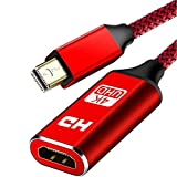 4K Mini DisplayPort to HDMI Adapter, Capshi Thunderbolt to HDMI Adapter [Smart,Aluminum Shell] Mini DisplayPort to HDMI for MacBook air /Pro,Surface Pro/Dock/Book, Monitor, HDTV,Projector, More - Red