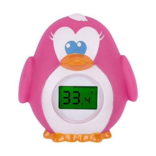 BelonLink Termómetro de Baño bebe, Termómetro Bebe Bañera digital, Termómetro Agua Bebe para Habitación y Baño, con Alarma LED, Apariencia del pingüino, Aplicar para niña/chico/adulto Rosado