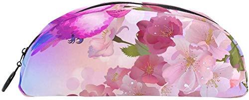 Geldbörse Cartoon Kolibri Pfirsichblüte Bleistift Fall Tasche Tasche Briefpapier Bleistift Fall Kosmetiktasche Geeignet für Teen Jungen und Mädchen