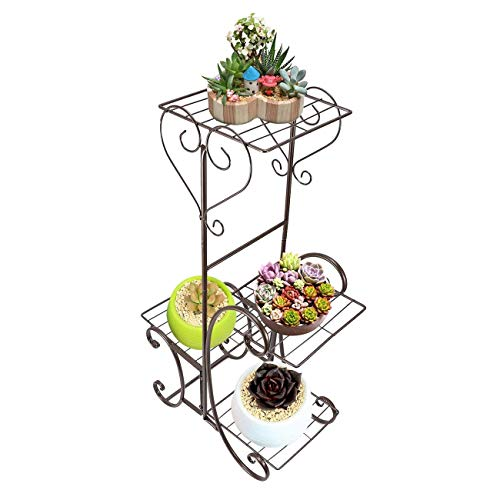 B-fengliu Plant Stand Metal Flower Holder Pot With 4 Tier Garden Decoration Display Wrought Iron 4 Layers Planter Rack Shelf Organizer For Garden Home Office (Color : 4 Trays Bronze)