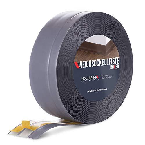 HOLZBRINK Weichsockelleiste selbstklebend DUNKELGRAU Knickleiste, 50x20mm, 10 Meter