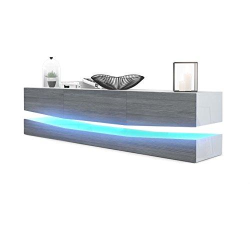Vladon Meuble TV Armoire Basse City, Corps en Blanc Mat/Façades en Bordeaux Haute Brillance avec l'éclairage LED