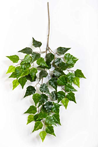 artplants.de Künstlicher Birkenzweig Henrik, 55 Blätter, grün, 65cm - Deko Zweig - grüne...