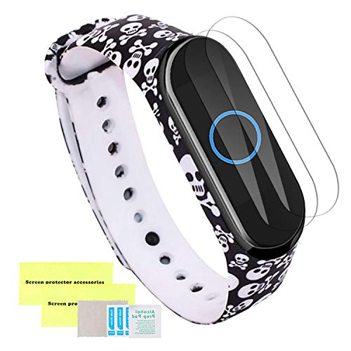 Mi- Case Correa para Xiaomi Mi Band 3/4 + Protector de Pantalla [2 Pack],  Coloridos Impermeable Reemplazo Correas Reloj Silicona Correa para Xiaomi Mi Band 3/4 Pulsera Silicona Band -  Cráneo