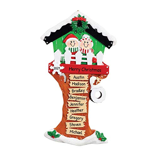 Personalized Christmas Tree House Grand-Children of 9 Ornament 2020 - Grand-Parent Wooden Play Granny Gift Grand-Mother Grand-Father Cozy Holiday Engraved Tradition Dated Year - Free Customization