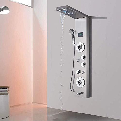 Sistema de ducha, níquel cepillado Panel de ducha Torre de columna Pantalla LED de temperatura Chorro de masaje Rociador de mano Cabezal de ducha LED Mezclador de lluvia Sistema de grifo de ducha